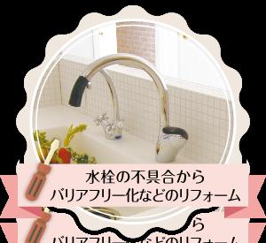 水栓の不具合からバリアフリー化などのリフォーム